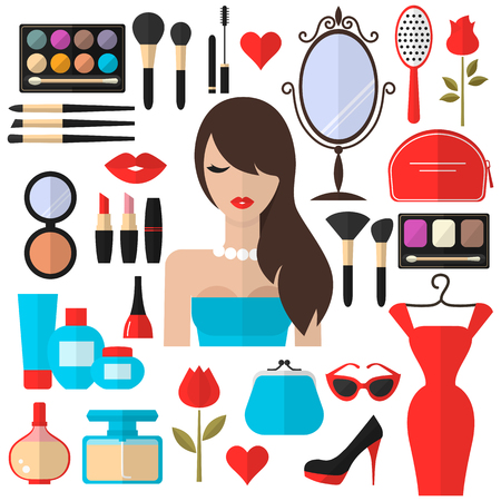 eye makeup: Beauty, Cosmetic and Makeup Vector flat Icons Set . Beautiful fashion woman flat icon. Cosmetic products, makeup brushes, lipstick, perfume, eye makeup. Women accessories. Fashion icons.