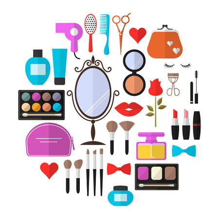 Cosmetic, Makeup and Beauty Vector flat Icons Set . Cosmetic products, makeup brushes, lipstick, perfume, eye makeup. Symbols for fashion, beauty salon or wellness centers. Women accessories.