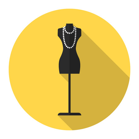 Fashion mannequin vector flat icon with long shadow. Fashion mannequin icon.