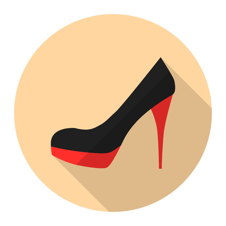 stiletto: Woman high heel shoes vector flat icon with long shadow. Stiletto heels.