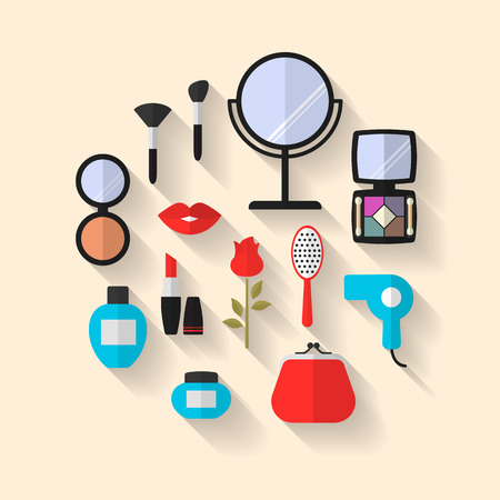 flat brushes: Makeup, Cosmetic and Beauty Vector flat Icons with long shadows. Cosmetic products, makeup brushes, lipstick, perfume, eyeshadows. Women accessories.