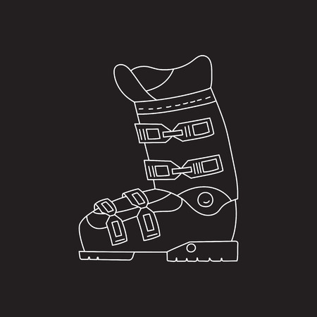 foot gear: Ski boots vector line hand drawn icon isolated on chalkboard. Winter sport professional equipment.