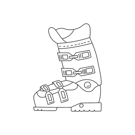 foot gear: Ski boots vector line hand drawn icon isolated on white background. Winter sport professional equipment.