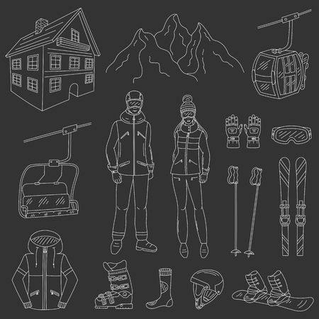 chairlift: Ski resort icons set snowboarder man and woman, resort hotel, mountains, funicular, chairlift, winter sport equipment, isolated hand drawn doodle vector illustration.