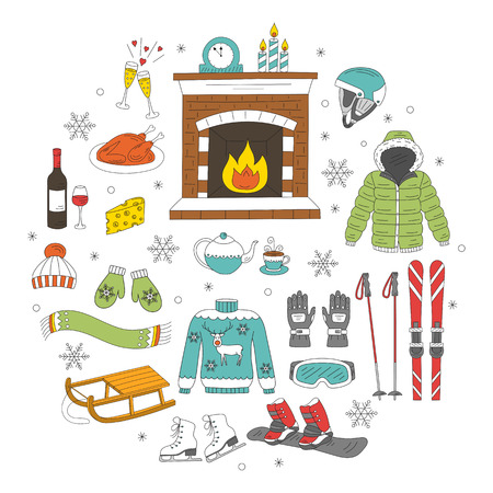 Winter activity icons hand drawn doodle vector illustration. Ski and snowboard equipment, winter  elements. Stock Illustratie
