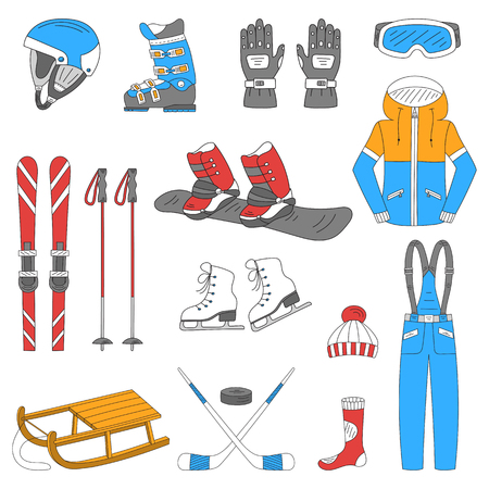 Winter sports collection, snowboard equipment, boots, board, helmet, goggles, protective clothing, ski kit, ice skates, sledge, isolated Winter activity icons hand drawn doodle vector illustration Illustration