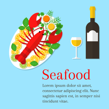 seafood background: Seafood platter vector flat illustration. Lobster on a plate with lemon and wine bottle. Fresh seafood background. Seafood restaurant menu. Illustration