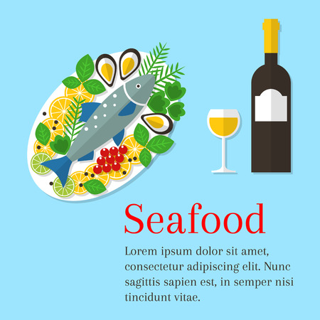 salmon fillet: Seafood platter vector flat illustration. Cooked salmon fish on a plate with lemon and wine bottle. Fresh seafood background. Seafood restaurant menu.