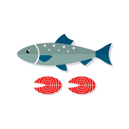 salmon fillet: Salmon fish vector flat illustration isolated on white background. Fresh seafood flat icon. Illustration