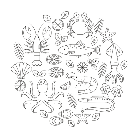 Seafood vector flat line icons set. Vector illustrations of lobster, crab, salmon, fish, squid, oyster, shrimp, octopus, eel. Seafood menu background Fresh seafood restaurant illustration