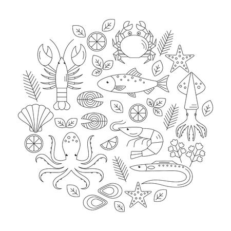 Seafood vector flat line icons set. Vector illustrations of lobster, crab, salmon, fish, squid, oyster, shrimp, octopus, eel. Seafood menu background Fresh seafood restaurant illustration