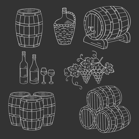 wine making: Wine barrels set vector hand drawn doodle sketch icons. Wine and wine making objects bottles, glasses, grapes isolated.