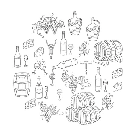 viticulture: Wine and wine making set vector illustrations hand drawn doodle, bottles, glasses, grapes, wine tasting, cheese, champagne, barrels, cellar. Wine design elements Illustration