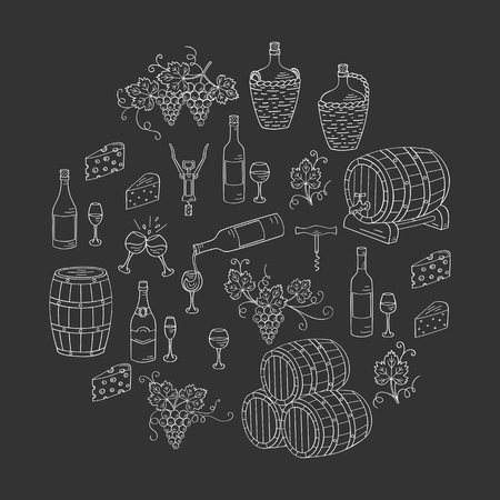 wine making: Wine and wine making set vector illustrations hand drawn doodle, bottles, glasses, grapes, wine tasting, cheese, champagne, barrels, cellar. Wine design elements on chalkboard.