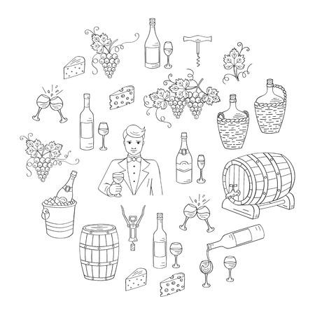 wine making: Wine and wine making set vector illustrations hand drawn doodle, bottles, glasses, grapes, sommelier, wine tasting, cheese, champagne, barrels, cellar Wine design elements
