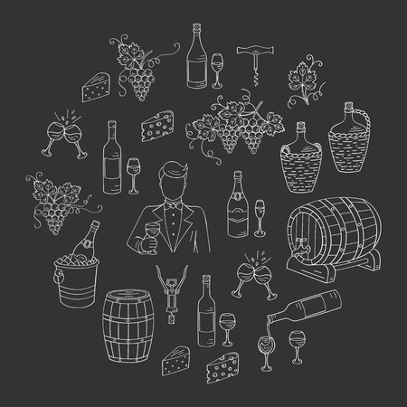 wine making: Wine and wine making set vector illustrations hand drawn doodle, bottles, glasses, grapes, sommelier, wine tasting, cheese, champagne, barrels, cellar. Wine design elements on chalkboard Illustration