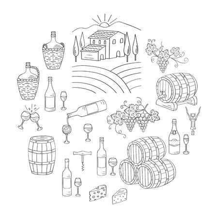 wine making: Wine and wine making set vector illustrations hand drawn doodle, vineyard, bottles, glasses, grapes, barrels, cellar. Wine design elements.