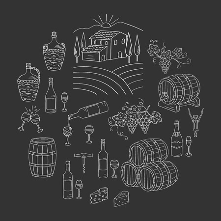 viticulture: Wine and winemaking set vector illustrations hand drawn doodle, vineyard, bottles, glasses, grapes, barrels, cellar. Wine design elements on chalkboard. Illustration