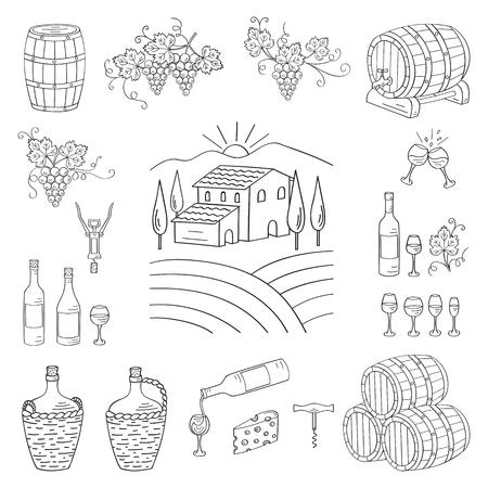 wine making: Wine and wine making set vector illustrations hand drawn doodle, vineyard , bottles, glasses, grapes, barrels, cellar. Wine design elements.