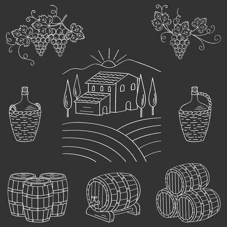 wine making: Vineyard farm village landscape vector illustration hand drawn doodle. Wine and wine making set grapes, barrels, cellar isolated. Wine design elements on chalkboard. Illustration