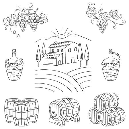 wine making: Vineyard farm village landscape vector illustration hand drawn doodle. Wine and wine making set grapes, barrels, cellar isolated. Wine design elements on white. Illustration