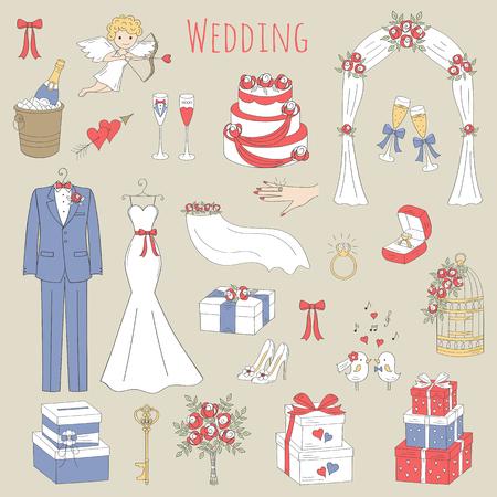 Vector Reihe von Hand gezeichnet Hochzeit Symbole Brautkleid, Anzug, Kuchen, Amorengel, Strauß, Ring, Bogen, Geschenk-Box, Vogelkäfig, Champagner isoliert doodle Skizze Abbildungen.