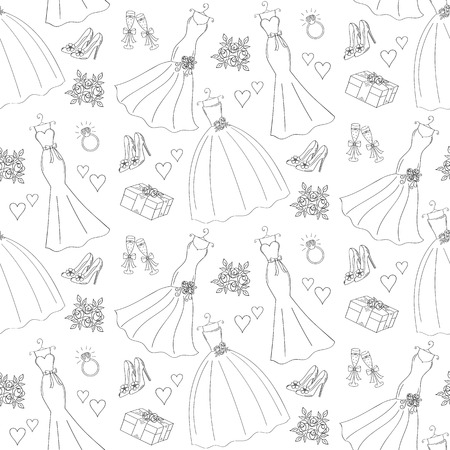 champagne cups: Wedding vector seamless background Illustration