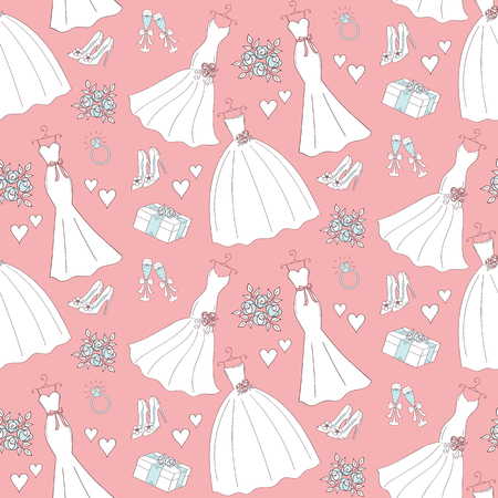 champagne cups: Wedding vector seamless background with hand drawn icons wedding dresses, shoes, roses, engagement ring, champagne cups, hurts, gift box.
