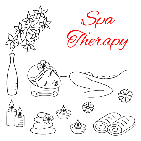 spa stone: Vector illustrations of Beautiful woman spa stone massage