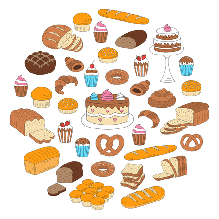 Bakery and pastry collection with various sorts of bread, croissant, pretzel, french baguette, rolls, bagels, cupcake, cakes, muffins. Hand drawn doodle style vector illustrations isolated on white.