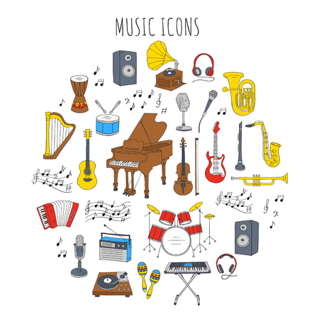 Musical instruments and symbols.