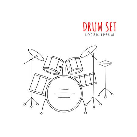 Drum set vector illustration hand drawn Illustration