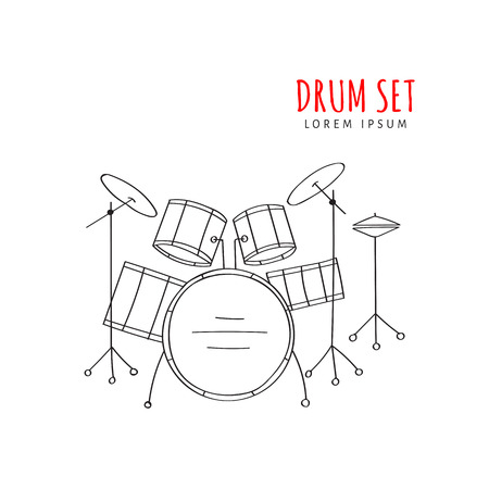 Drum set vector illustration hand drawn Vectores