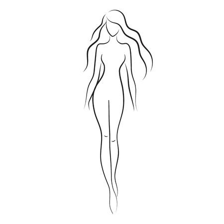 Silhouette of beautiful nude woman vector Иллюстрация