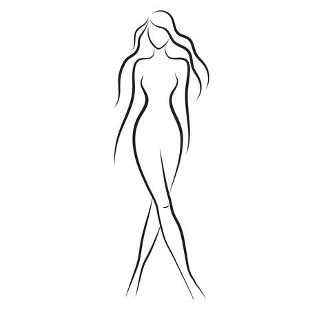 body slim: Silhouette of beautiful nude woman vector Illustration
