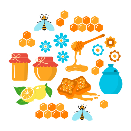 Honey vector flat icons set