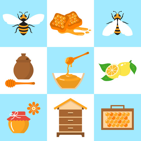 Honey beekeeping vector flat icons set