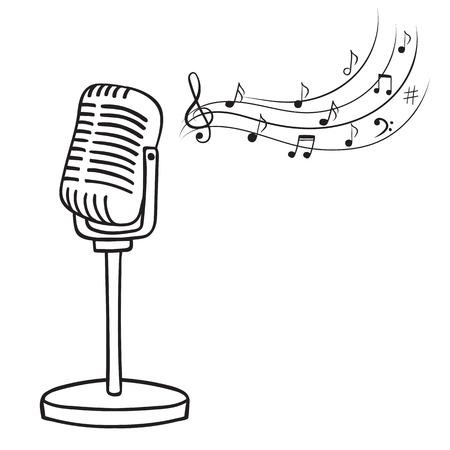 Oude microfoon en muziek notities hand getekende vector. Vintage muziek achtergrond.