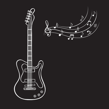 Elektrische gitaar en muziek merkt hand getrokken vector. Vintage muziek achtergrond. Stockfoto