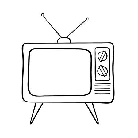 Vieux téléviseur mis illustration vectorielle dessinés à la main. Fond vintage