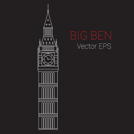 whit: Vector Line Icon of Big Ben Tower, London. Illustration