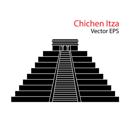 yucatan: Vector flat Icon of Chichen Itza, Mexico. Isolated on white background.
