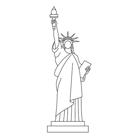 Statua della libertà, icona della linea vettoriale. Vettoriali