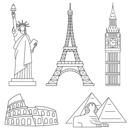 World Landmarks, Eiffel Tower, Statue of liberty, Big Ben, Colosseum, Sphinx. Vector line icons set. Illustration