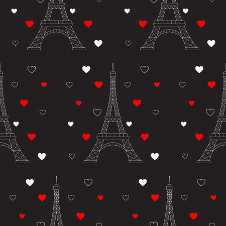 エッフェル塔と心、シームレスなパターンのベクトル。パリのロマンチックなバレンタインの背景。