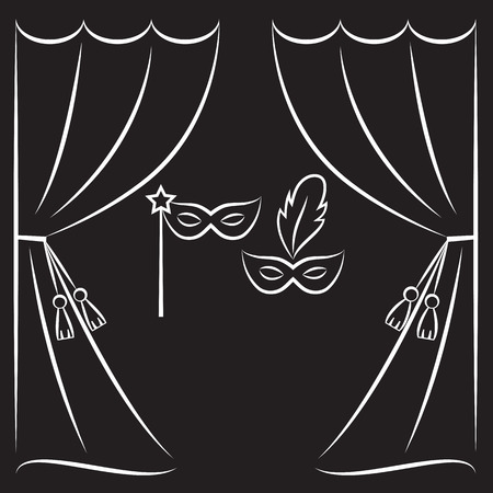 classical theater: Theater curtain and masks vector line illustration. Illustration