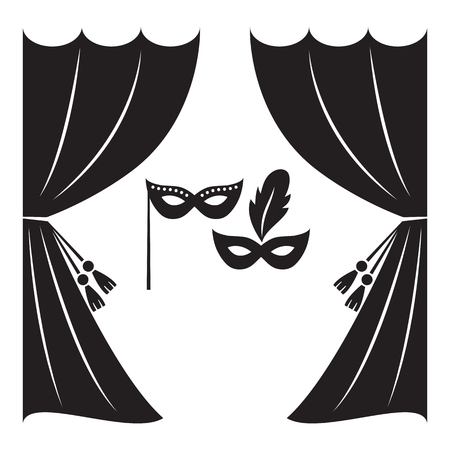 classical theater: Theater curtain and masks vector illustration. Illustration