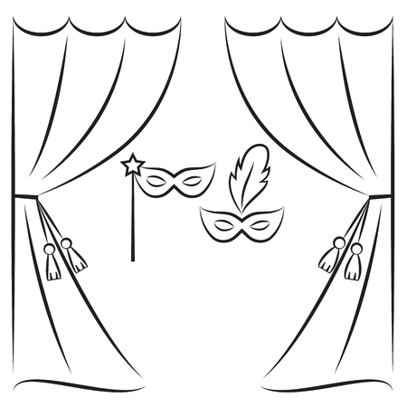 classical theater: Theater curtain and masks vector line illustration Illustration
