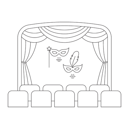 Theater or cinema  template. Entertainment icon.
