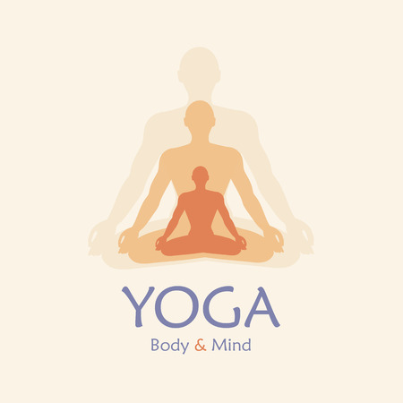 yoga meditation: Poster for yoga studio or meditation class. Vector yoga illustration